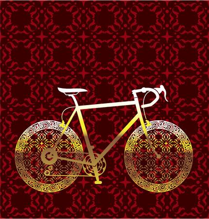 handlebars: Golden bicycle vector floral design illustration clip-art image