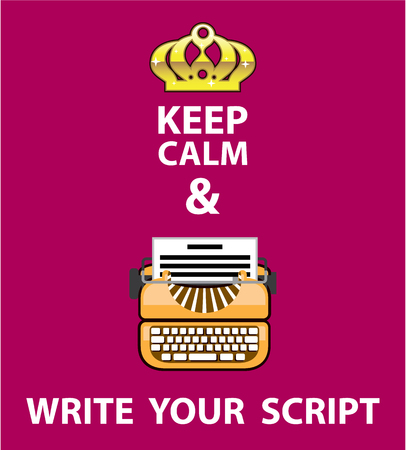 Keep Calm and write your script vector illustration clip-art image