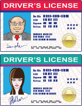 Bestuurders licentie Man en Meisje vector illustratie-illustraties Stock Illustratie