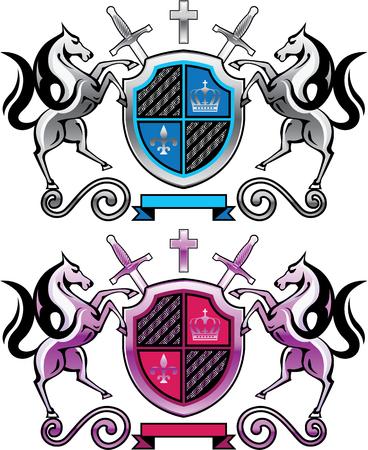 Royal horses shield logo purple silver illustration clip-art image Ilustração