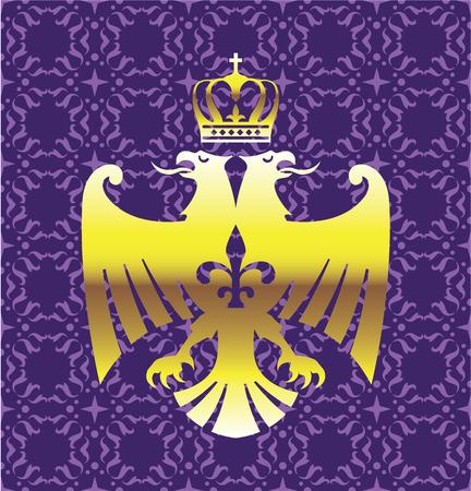 double headed: Golden Double headed eagle illustration background purple Illustration