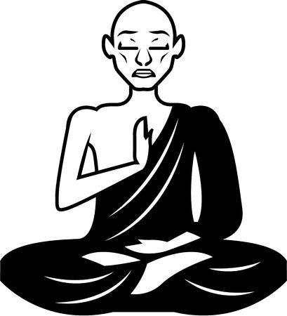 Monk meditating sitting vector black image