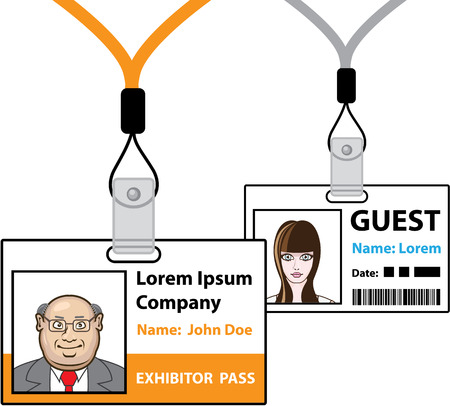Exhibitor and guest pass vector illustration clip-art