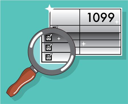 Vorm 1099 onder vergrootglas vector illustratie clip-art afbeelding