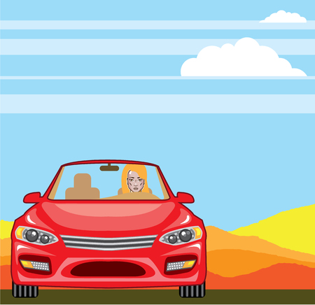 Woman in the car vector illustration clip-art image