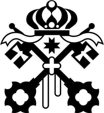 roman catholic: Crossed Keys symbol vector illustration clip-art image