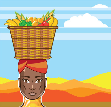 African lady woman with a basket vector illustration clip-art Illustration