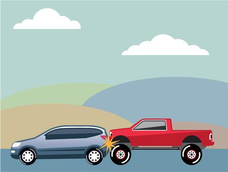 Rear end car crash vector illustration clip-art image Illustration