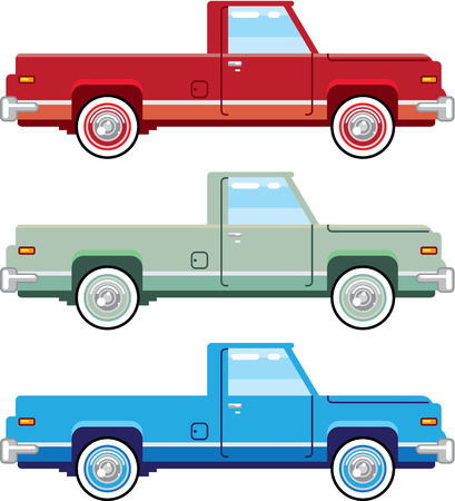 Vintage pickup vector truck illustration clip-art image