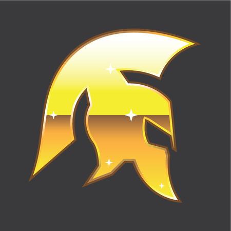 Spartan helmet vector golden illustration clip-art Illustration
