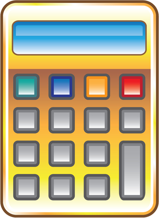 Golden calculator illustration clip-art image