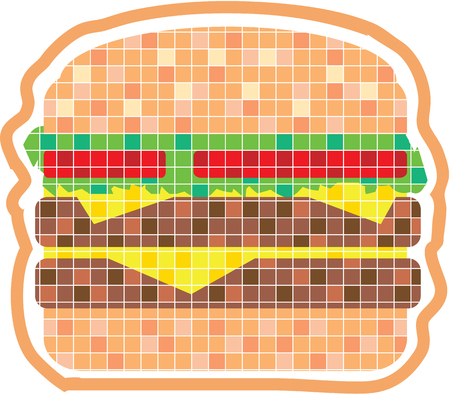 sesame: Pixelated hamburger vector clip-art image Illustration