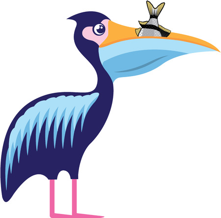 pouch: Pelican With Fish vector illustration clip-art image