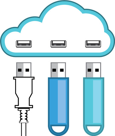 USB cloud drive vector illustration clip-art image