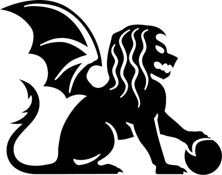 leon alado: Winged lion sitting sphere ball black vector
