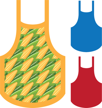Apron corn pattern vector illustration clip-art file Stock Illustratie