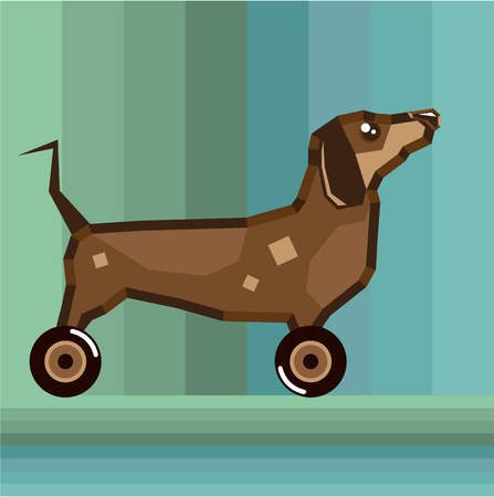 Dog On Wheels stylized vector illustration