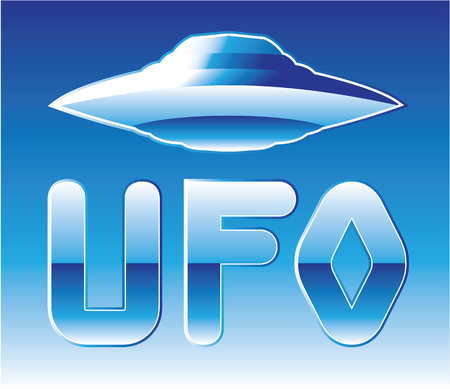 abducted: UFO icon vector blue shiny illustration clip-art image