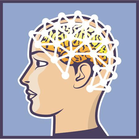 EEG Brain Device wires icon illustration clip-art image Illustration
