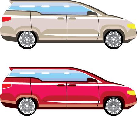 mini car: Family van mini car stylized vector illustration clip-art