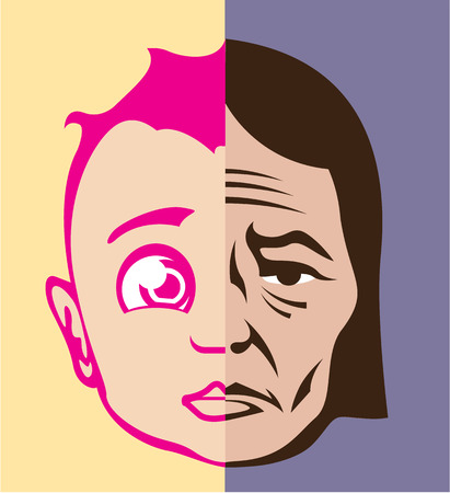 Young old vector face life states illustration clip-art image