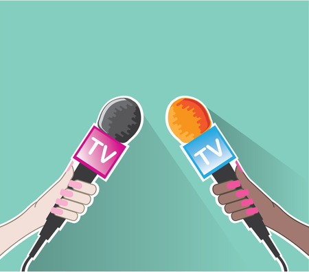 Hands with microphone TV news vector illustration