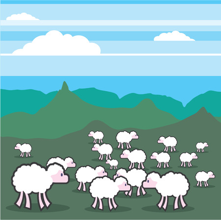 Sheeps in the field vector illustration clip-art image Illustration