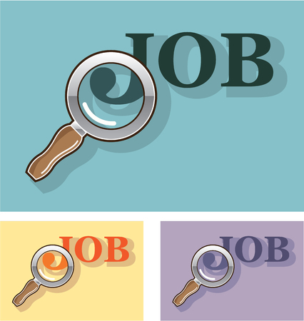 Job under Magnifying Glass vector illustration clip-art image