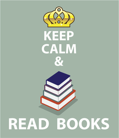 Keep calm and Read Books vector illustration clip-art image
