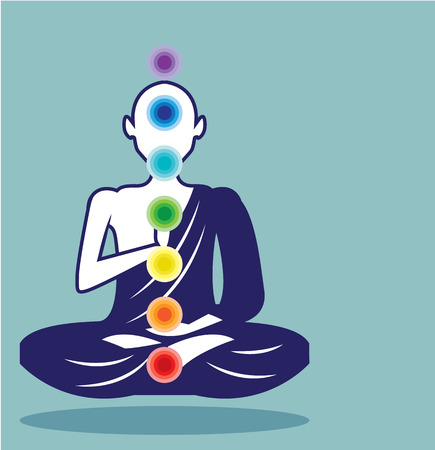 tantra: Chakra Meditation Floating monk vector illustration clip-art image