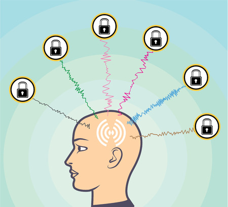 Locked Brainwaves Illustration clip-art image