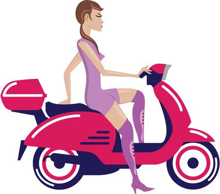 Meisje op scooter geïsoleerd vector illustratie clip-art Vector Illustratie