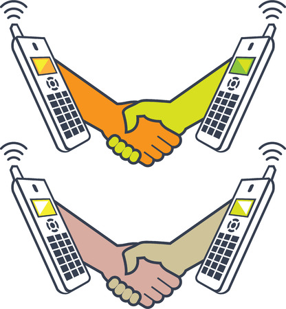 Shake hands on the phone vector illustration clip-art image  イラスト・ベクター素材