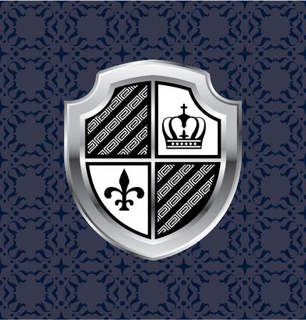 nobel: Royal crown flower shield silver vector illustration clip-art image