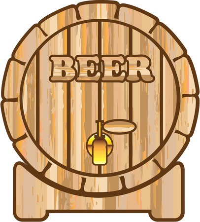 Beer barrel wooden illustration clip-art image