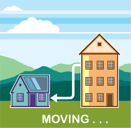 residential neighborhood: Moving apartment to house vector illustration clip-art image