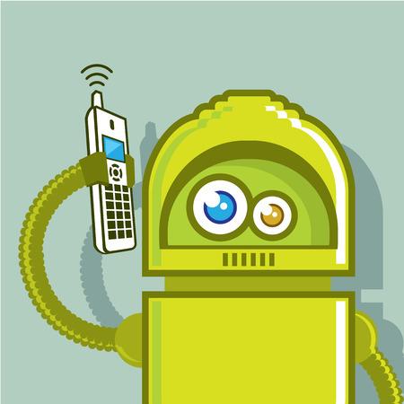 Media robot picks up the phone vector illustration