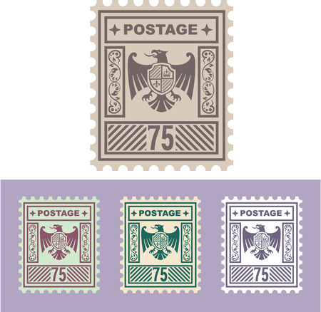 collectibles: Postal mail stamp eagle shield vector illustration