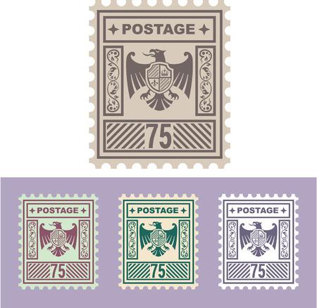 Postzegel adelaar schild vectorillustratie