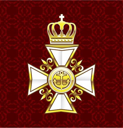 Royal white cross golden medal heraldic clip-art Illustration