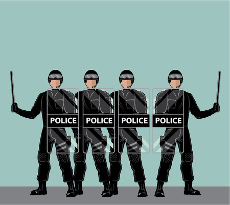Riot police officers vector illustration clip-art