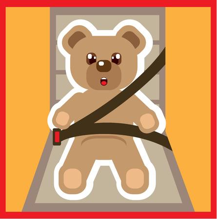 baby bear: Buckle up baby bear vector illustration clip-art