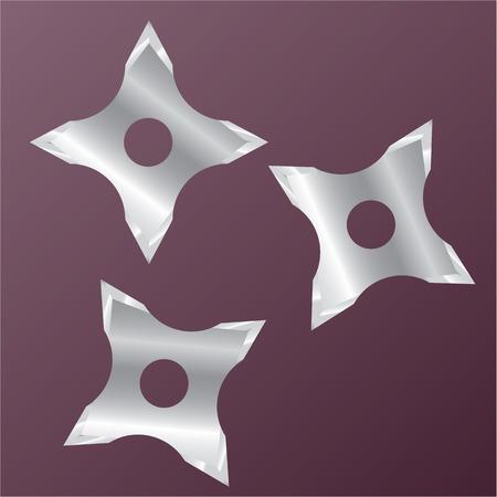 six objects: Ninja Stars vector illustration clip-art image