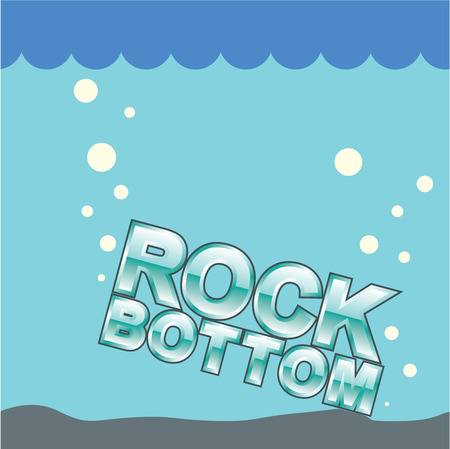 at the bottom of: Rock Bottom vector illustration clip-art image Illustration