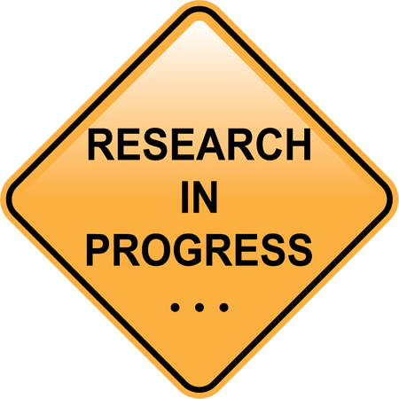 yellow lab: Research in progress sign vector illustration clip-art image