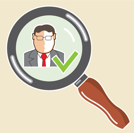 Employee Zoom magnifying glass check mark vector illustration