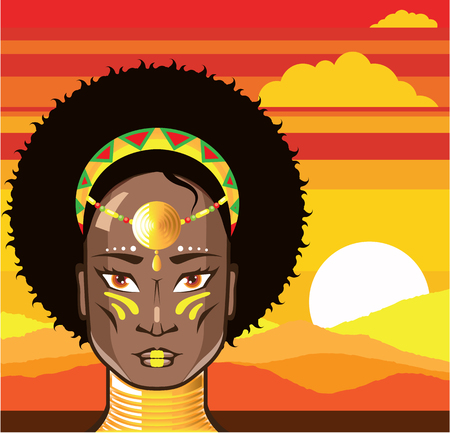 beauty queen: African princess vector illustration clip-art image