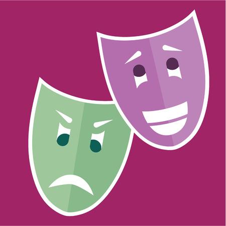caretas teatro: Ilustración del vector clip-art máscaras del teatro