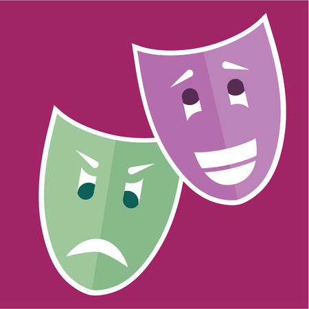 Theater masks vector illustration clip-art image 矢量图像