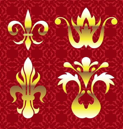 ブルゴーニュと花の紋章の黄金の要素イラスト クリップ アート